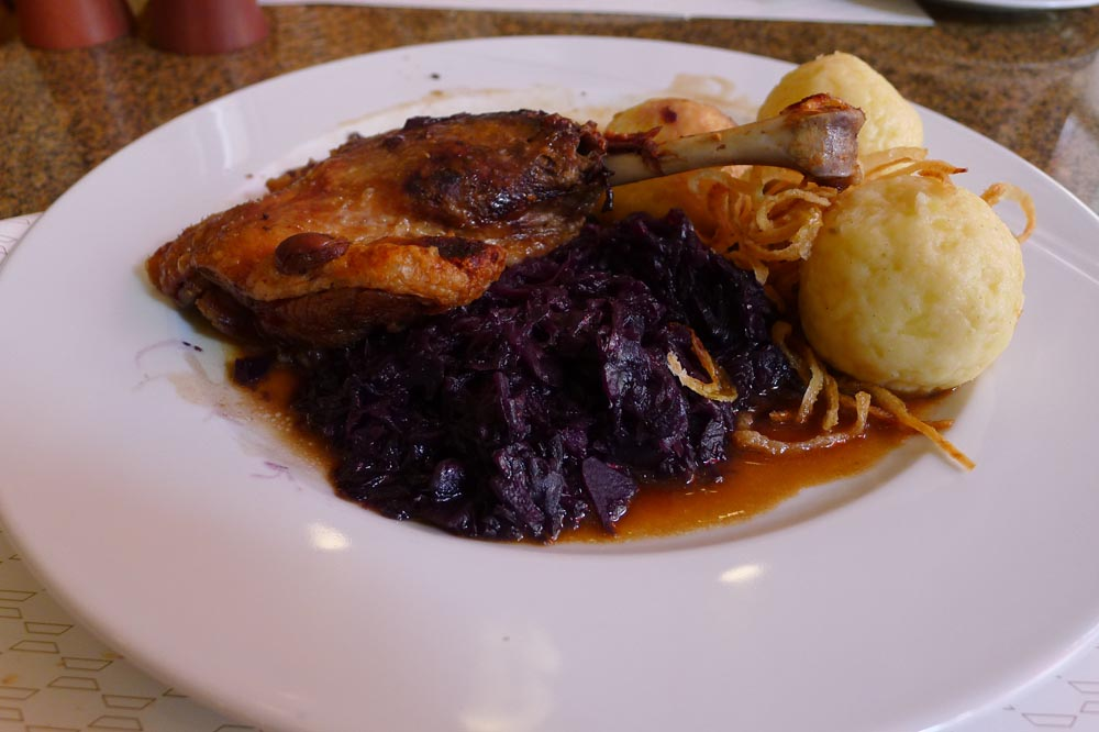 Duck confit, purple cabbage and DON'T EAT THOSE DUMPLINGS!